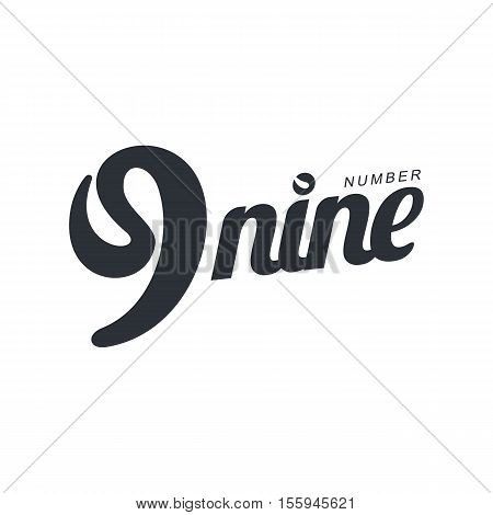 Black and white number nine abstract logo template with hand writing imitation, vector illustration isolated on white background. Black and white number nine graphic logotype