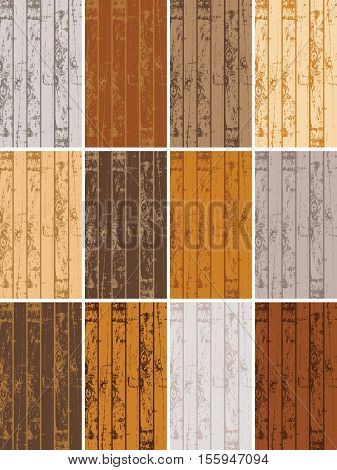 set of vector business cards templates with texture of wooden planks in different colors