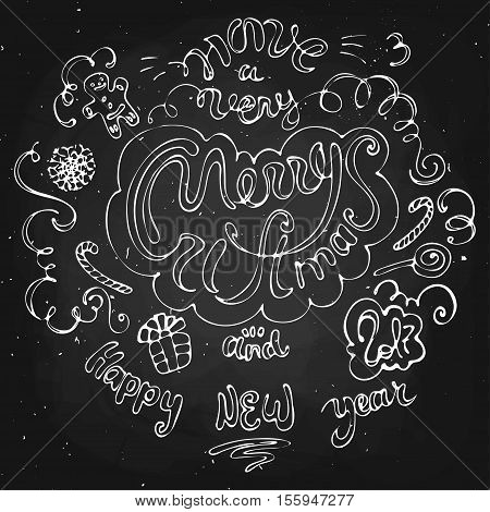 2017 Happy new year and merry christmas illustration on black chalkboard
