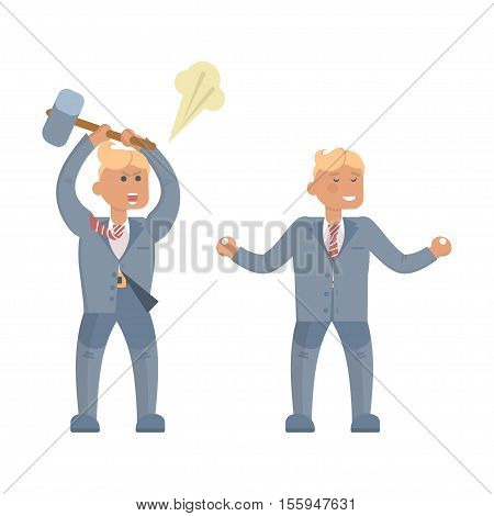 Businessman in stress and relax. Beside oneself with rage, Yoga, Concept of Stressed office manager. Headache Problem Concept Negative Emotion Office Flat Vector Illustration