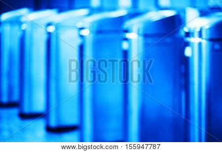 Vertical Moscow metro blue tourniquet bokeh background hd