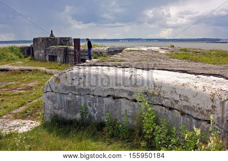 Kronstadt Russia - 10 July 2016: Fort Graf Milutin is marine reinforced concrete fortification construction for protection of Saint Petersburg from attack by naval forces. Built in 1855-1856 years