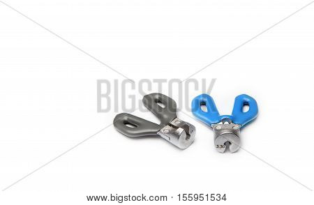 Two spoke wrenches on a white background