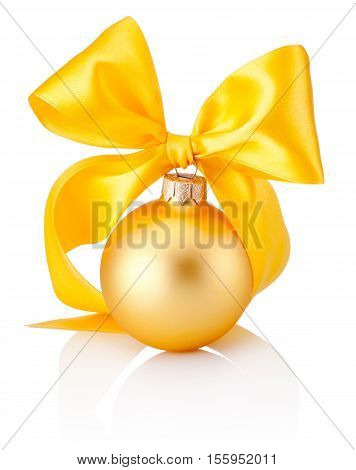 Christmas golden bauble with yellow ribbon bow isolated on white background