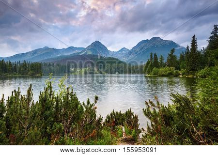 From the edge of the coast with beautiful green trees are seen mountain expanses mesmerizing lake view and wonderful sky.