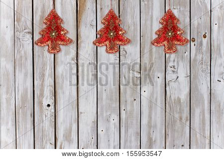 Decoration with Christmas Tree Velvet Ornaments on Weathered Natural Background