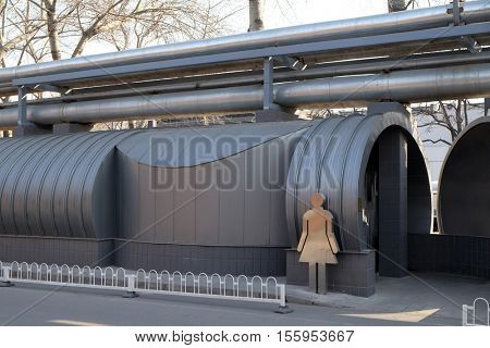 BEIJING - FEBRUARY 25, 2016: Public toilets in 798 in Art District. The 798 Art District is regarded as the biggest arts area in China and it has won international acclaim during last years.