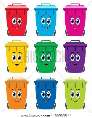 vector set of colorful flat recycling wheelie bin icons happy to store rubbish recycling and garden waste