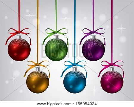 vector new year background with collection of hanging xmas balls