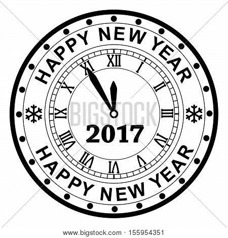 vector background of black and white new year 2017 rubber stamp design with a clock