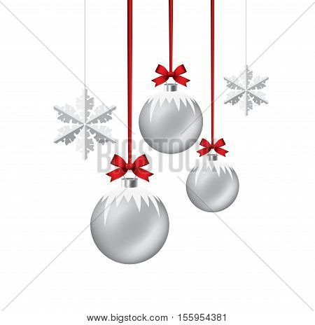vector new year background with hanging xmas balls and snowflakes