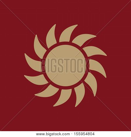 The sunshine icon. Sunrise and sunshine, weather, sun symbol. UI. Web. Logo. Sign Flat design App Stock vector