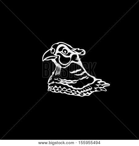 Hand-drawn pencil graphics, bird, pheasant. Linocut, stencil style. Black and white logo, sign, emblem, symbol. Stamp, seal. Simple illustration. Sketch.