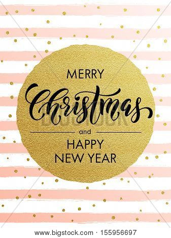 Merry Christmas gold glitter greeting card. Vector pink, white stripes, golden glittering circle ball ornament. Gilt calligraphy lettering modern trend dotted poster background