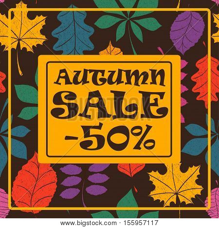Colorful autumn sale background with tree leaves pattern. Vector illustration.