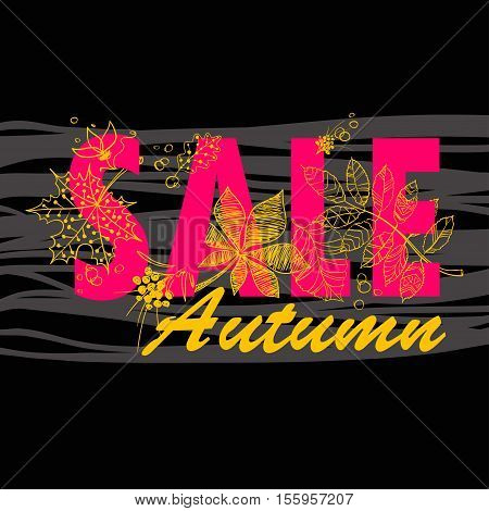 Autumn sale background with tree leaves. Vector illustration.