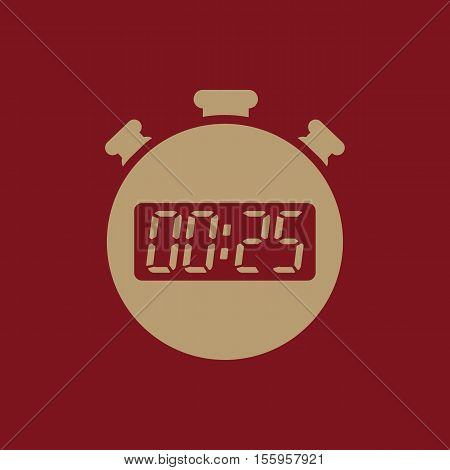 The 25 seconds, minutes stopwatch icon. Clock and watch, timer, countdown, stopwatch symbol. UI. Web. Logo Sign Flat design App Stock vector