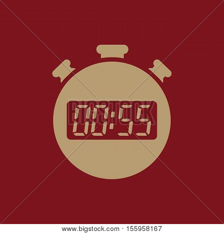 The 55 seconds, minutes stopwatch icon. Clock and watch, timer, countdown, stopwatch symbol. UI. Web. Logo Sign Flat design App Stock vector
