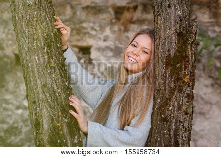 Beautiful woman relaxed on a sunny day in autumn