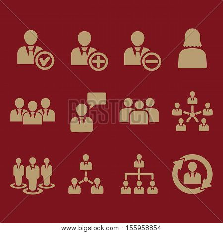 The management icon, set of 12 icons. Team and group, teamwork, people, alliance, management symbol. UI. Web. Logo Sign Flat design App Stock vector