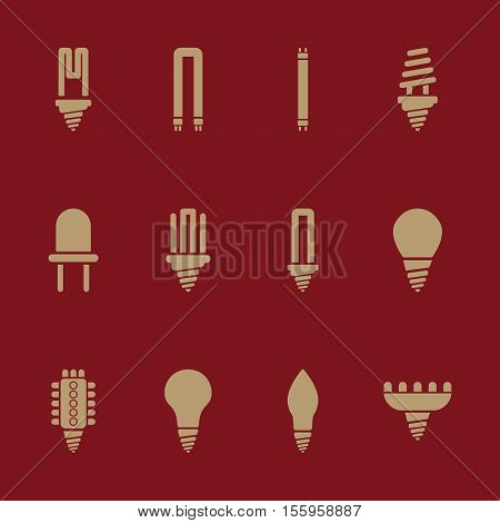 The light bulb icon, set of 12 icons. Lamp and bulb, lightbulb symbol.UI. Web. Logo. Sign. Flat design. App Stock vector