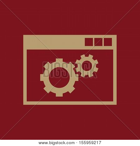 The website optimization icon. WWW and browser, development, seo, website optimization symbol. UI. Web. Logo. Sign Flat design App Stock vector