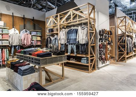 fashionable brand new interior of cloth store
