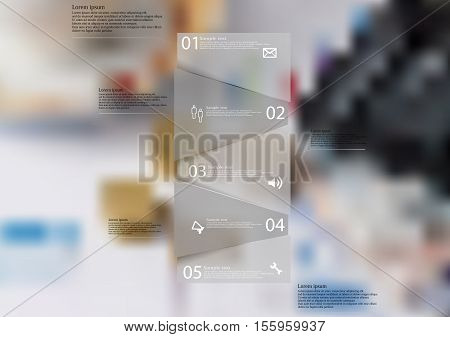Infographic illustration template with shape of bar randomly divided to five parts with grey semi-transparent color. Background is blurred photo with financial and money motif.