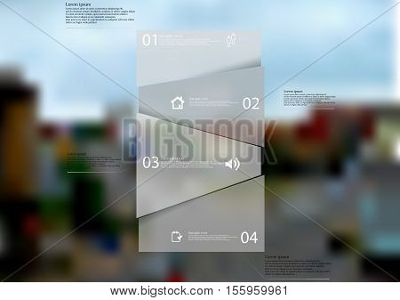 Infographic illustration template with shape of bar randomly divided to four parts with grey semi-transparent color. Background is blurred photo with crossroad in the city motif.