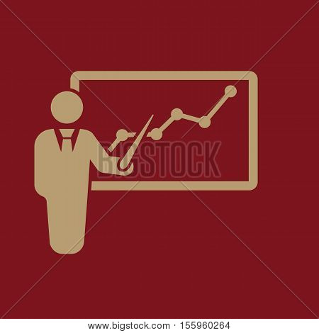 The Presentation icon. Presentation and lectures, presentations, workshops, seminar, staff training symbol. UI. Web. Logo Sign Flat design App Stock vector