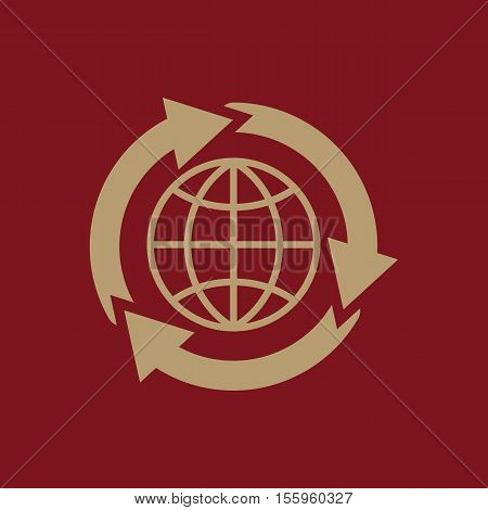 The global solution icon. WWW and browser, development, search, SEO, global solution symbol. UI. Web. Logo Sign Flat design App Stock vector