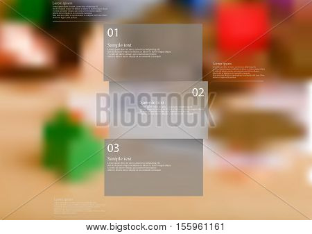 Infographic illustration template with shape of bar horizontally divided to three parts with grey semi-transparent color. Background is blurred photo with financial and money motif.