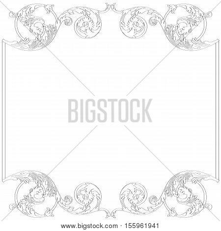 Vintage frame, baroque frame, menu frame, ornament frame, border frame, floral frame, vine frame, elegant frame. Vector.