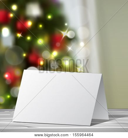 Christmas Greeting Card mock up Vector for your design ideas on blured Christmas tree background