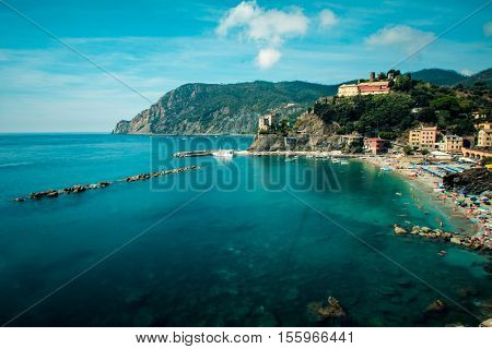 View on the beach of the  village ancient of Monterosso. 3 september 2016, Monterosso(Cinque Terre, Italy)