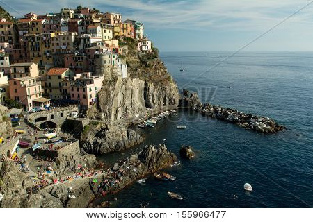 Landscape of the ancient  village of Riomaggiore. 3 september 2016, Riomaggiore(Cinque Terre, Italy)