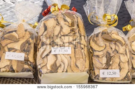 Premium Dried Porcini Mushrooms at a Market