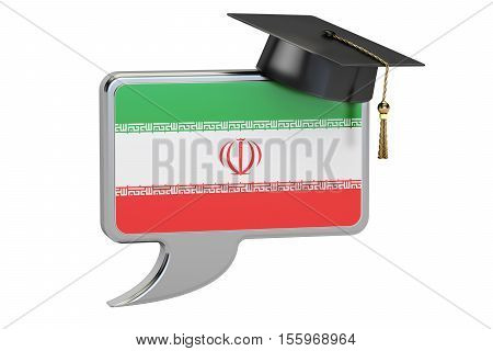 Speech bubble with Iranian flag learning concept. 3D rendering