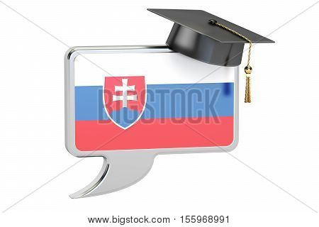Speech bubble with Slovak flag learning concept. 3D rendering