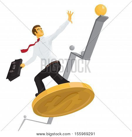 A businessman or manager reaches the top a man in a white shirt with a briefcase on a coin