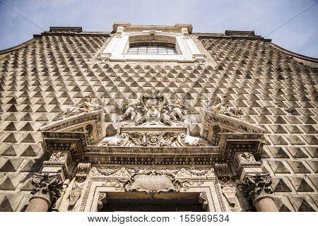 Facade of Chiesa del Gesu Nuovo in Naples Italy