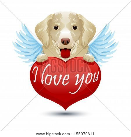 Puppy hovering in the sky on the wings I love you. Vector illustration in flat cartoon style isolated from the background