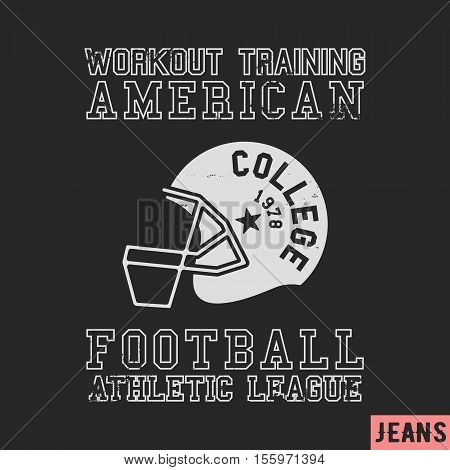 T-shirt print design. American football vintage stamp. Printing and badge applique label t-shirts, jeans, casual wear. Vector illustration.