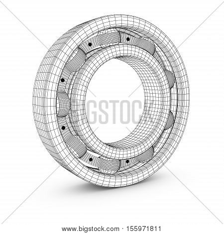 View of ball bearing structures in a cut. 3D render.