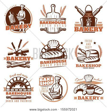 Isolated bake shop emblem desings set with different symbols of bakehouse cereal bread of many kinds vector illustration