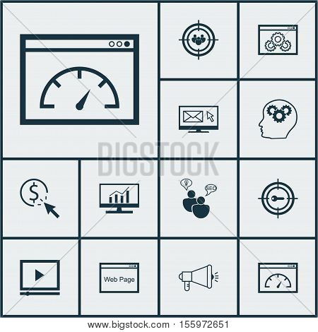 Set Of Marketing Icons On Newsletter, Brain Process And Keyword Marketing Topics. Editable Vector Il