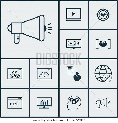 Set Of Seo Icons On Media Campaign, Questionnaire And Connectivity Topics. Editable Vector Illustrat