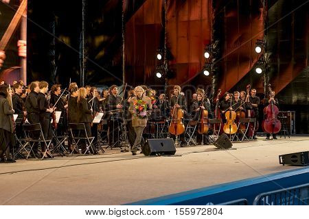 Saint-Petersburg.19 Jun 2016.Orchestra congratulates composer Igor Artemyev on The film and music festival
