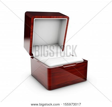 3d Illustration of Opened present box for jewerly on white background
