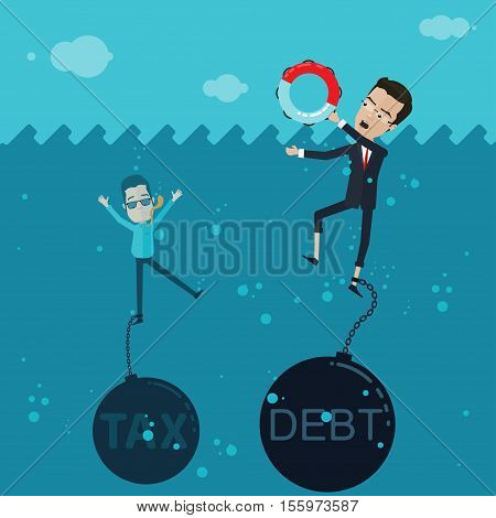 A businessman or manager fighting for his life in the ocean in his hand a lifeline to the leg chained debt or tax Vector illustration in flat cartoon style isolated from the background EPS 10